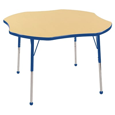 ECR4Kids 48 Clover Table Maple/Blue -Standard Ball Glide  (ELR-14101-MBL-SB)
