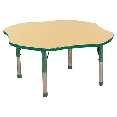 ECR4Kids 48 Clover Table Maple/Green-Chunky Legs  (ELR-14101-MGN-C)