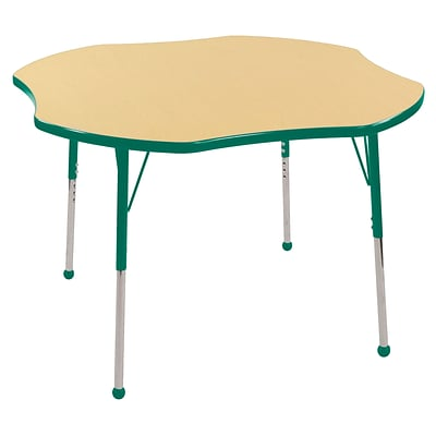 ECR4Kids 48 Clover Table Maple/Green-Toddler Ball Glide (ELR-14101-MGN-TB)