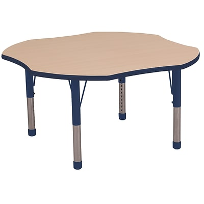 ECR4Kids 48 Clover Table Maple/Navy -Chunky Legs (ELR-14101-MNV-C)