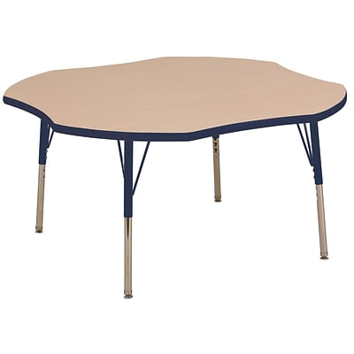 ECR4Kids 48 Clover Table Maple/Navy -Standard Swivel Glide  (ELR-14101-MNV-SS)