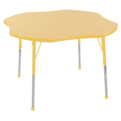 ECR4Kids 48 Clover Table Maple/Yellow-Toddler Ball Glide  (ELR-14101-MYE-TB)