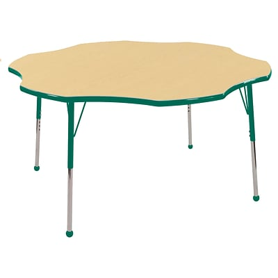 ECR4Kids 60 Flower Table Maple/Green-Standard Ball Glide (ELR-14102-MGN-SB)