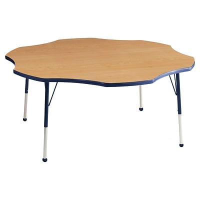 ECR4Kids 60 Flower Table Maple/Navy -Toddler Ball Glide (ELR-14102-MNV-TB)