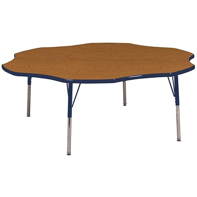 ECR4Kids 60 Flower Table Oak/Navy-Standard Swivel Glide  (ELR-14102-OKNV-SS)