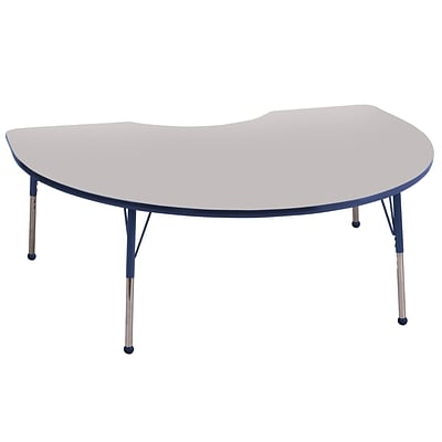 ECR4Kids Kidney Table Grey/Navy-Standard Ball Glide  (ELR-14104-GNV-SB)