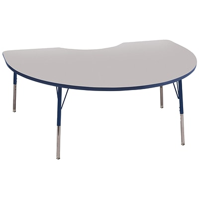 ECR4Kids Kidney Table Grey/Navy-Standard Swivel Glide  (ELR-14104-GNV-SS)