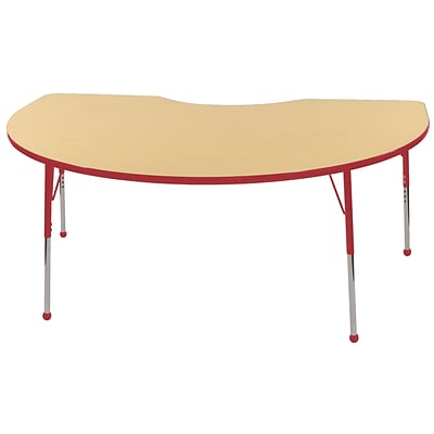 ECR4Kids Kidney Table Maple/Red -Standard Ball Glide (ELR-14104-MRD-SB)