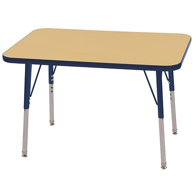 ECR4Kids 24 x 36 Rectangle Table Maple/Navy -Standard Swivel Glide (ELR-14106-MNV-SS)