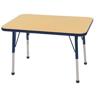 ECR4Kids 24 x 36 Rectangle Table Maple/Navy -Toddler Ball Glide (ELR-14106-MNV-TB)
