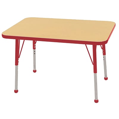 ECR4Kids 24 x 36 Rectangle Table Maple/Red -Standard Ball Glide  (ELR-14106-MRD-SB)