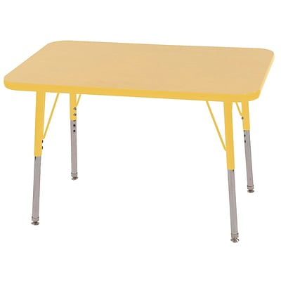 ECR4Kids 24 x 36 Rectangle Table Maple/Yellow-Toddler Swivel Glide  (ELR-14106-MYE-TS)