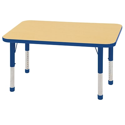 ECR4Kids 24 x 48  Rectangle Table Maple/Blue -Chunky Legs  (ELR-14107-MBL-C)