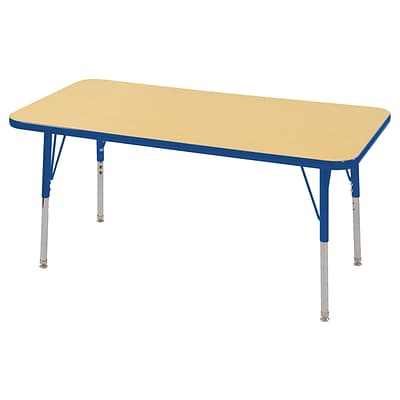 ECR4Kids 24 x 48 Rectangle Table Maple/Blue -Standard Swivel Glide (ELR-14107-MBL-SS)