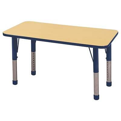 ECR4Kids 24 x 48  Rectangle Table Maple/Navy -Chunky Legs  (ELR-14107-MNV-C)