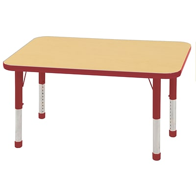 ECR4Kids 24 x 48  Rectangle Table Maple/Red -Chunky Legs  (ELR-14107-MRD-C)