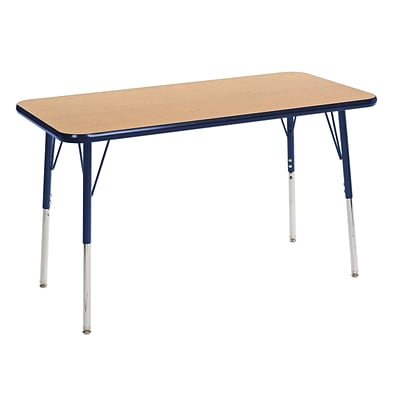 ECR4Kids 24 x 48  Rectangle Table Oak/Navy-Standard Swivel Glide  (ELR-14107-OKNV-SS)