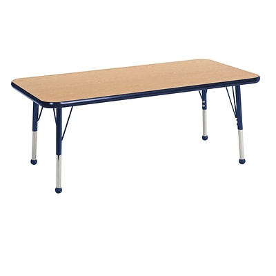 ECR4Kids 24 x 48  Rectangle Table Oak/Navy-Toddler Ball Glide  (ELR-14107-OKNV-TB)
