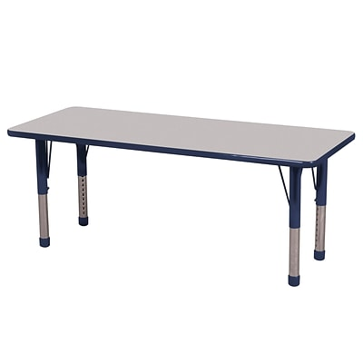 ECR4Kids 24 x 60  Rectangle Table Grey/Navy-Chunky Legs  (ELR-14108-GNV-C)