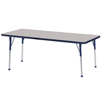 ECR4Kids 24 x 60  Rectangle Table Grey/Navy-Standard Ball Glide  (ELR-14108-GNV-SB)