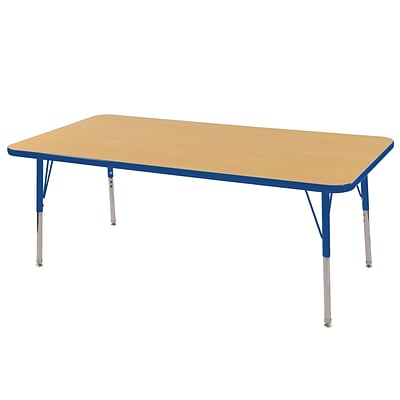 ECR4Kids 24 x 60  Rectangle Table Maple/Blue -Standard Swivel Glide  (ELR-14108-MBL-SS)