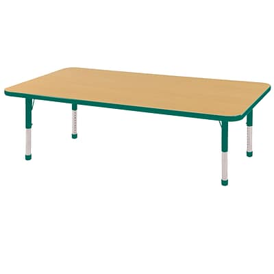 ECR4Kids 24 x 60  Rectangle Table Maple/Green-Chunky Legs  (ELR-14108-MGN-C)
