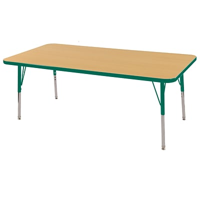 ECR4Kids 24 x 60  Rectangle Table Maple/Green-Toddler Swivel Glide  (ELR-14108-MGN-TS)