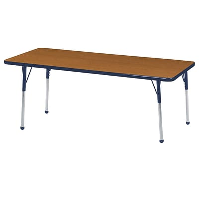 ECR4Kids 24 x 60  Rectangle Table Oak/Navy-Toddler Ball Glide  (ELR-14108-OKNV-TB)