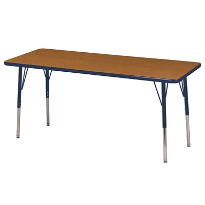 ECR4Kids 24 x 60  Rectangle Table Oak/Navy-Standard Swivel Glide  (ELR-14108-OKNV-SS)