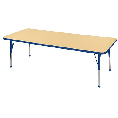ECR4Kids 24x72 Rectangle Table Maple/Blue -Toddler Ball Glide  (ELR-14109-MBL-TB)