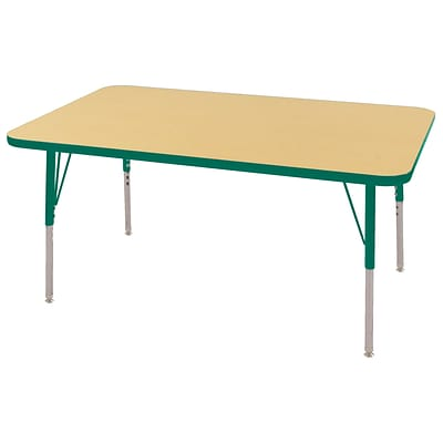 "30""x48"" Rectangular T-Mold Activity Table, Maple/Green/Standard Swivel"