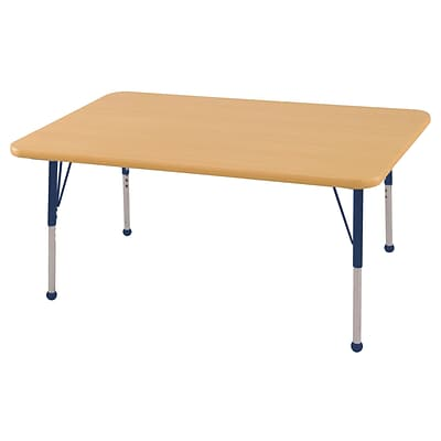 "30""x48"" Rectangular T-Mold Activity Table, Maple/Maple/Navy/Toddler Ball"