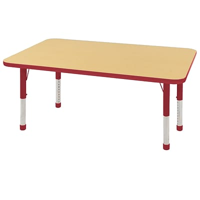 "30""x48"" Rectangular T-Mold Activity Table, Maple/Red/Chunky"