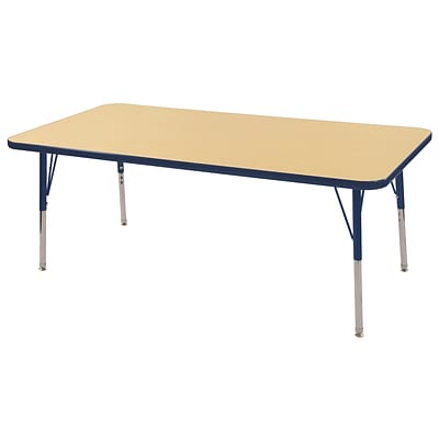 "30""x60"" Rectangular T-Mold Activity Table, Maple/Navy/Standard Swivel"