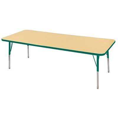 "30""x72"" Rectangular T-Mold Activity Table, Maple/Green/Toddler Swivel"