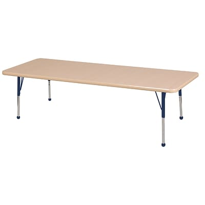 "30""x72"" Rectangular T-Mold Activity Table, Maple/Maple/Navy/Toddler Ball"