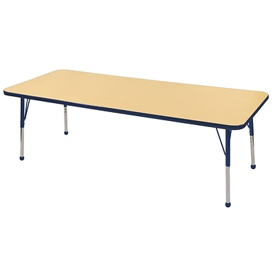 "30""x72"" Rectangular T-Mold Activity Table, Maple/Navy/Toddler Ball"