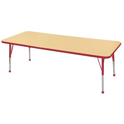 "30""x72"" Rectangular T-Mold Activity Table, Maple/Red/Standard Ball"