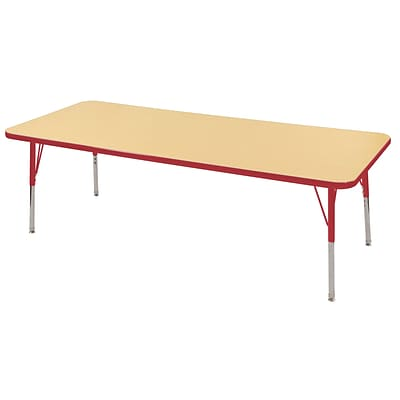 "30""x72"" Rectangular T-Mold Activity Table, Maple/Red/Toddler Swivel"