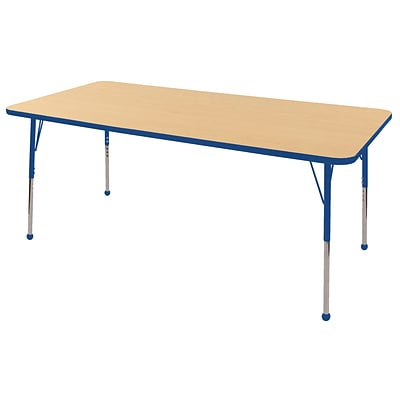 "36""x72"" Rectangular T-Mold Activity Table, Maple/Blue/Toddler Ball"