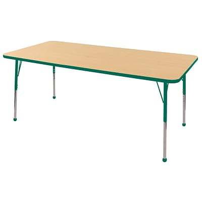 "36""x72"" Rectangular T-Mold Activity Table, Maple/Green/Toddler Ball"