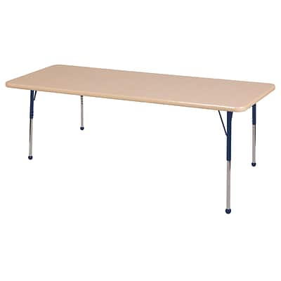 "36""x72"" Rectangular T-Mold Activity Table, Maple/Maple/Navy/Toddler Ball"