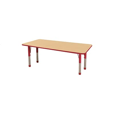 "36""x72"" Rectangular T-Mold Activity Table, Maple/Red/Chunky"
