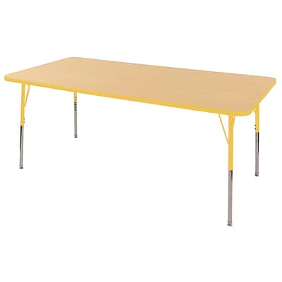"36""x72"" Rectangular T-Mold Activity Table, Maple/Yellow/Standard Swivel"