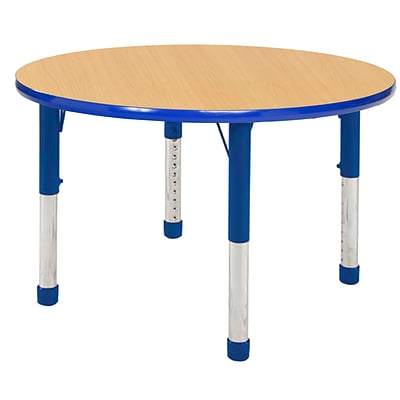 "36"" Round T-Mold Activity Table, Maple/Blue/Chunky"
