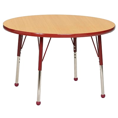 ECR4Kids 30 Round Table Maple/Red -Standard Ball Glide  (ELR-14121-MRD-SB)