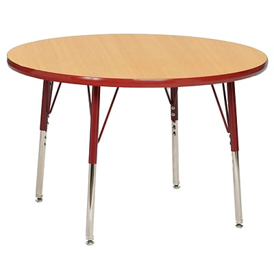 "36"" Round T-Mold Activity Table, Maple/Red/Toddler Swivel"