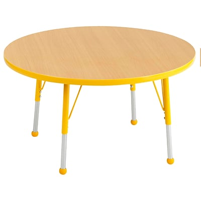 "36"" Round T-Mold Activity Table, Maple/Yellow/Toddler Ball"