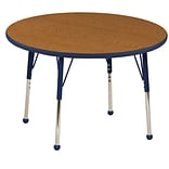 "36"" Round T-Mold Activity Table, Oak/Navy/Toddler Ball"