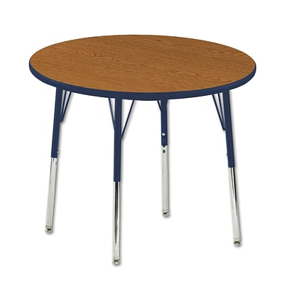 ECR4Kids 36 Round Table Oak/Navy-Toddler Swivel Glide (ELR-14114-OKNV-TS)